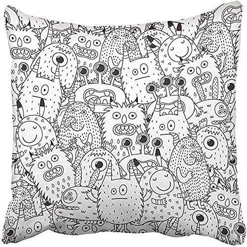 Throw Pillow Covers Print Halloween Funny Monsters for Coloring Book Black and White Page Scary Adult Alien Anti Beast Boo 18 X 18 Inch Square Zipper Polyester Home Sofa Decorative Case ()