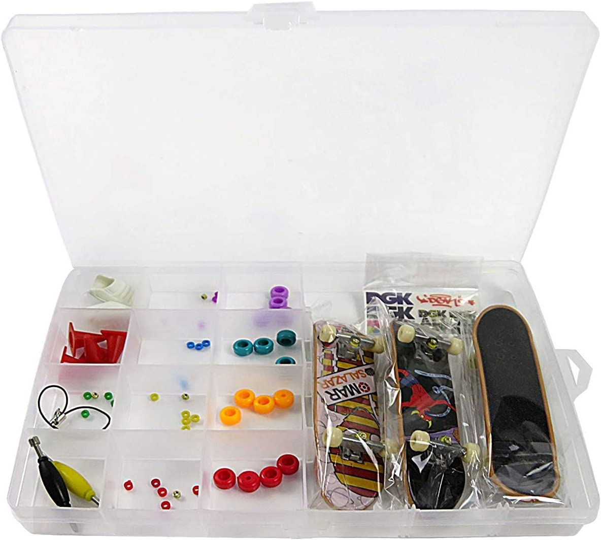 Nuoyi DIY Fingerboard Toy with Nuts Trucks Tool Kit Basic Bearing Wheels Obstacles All Packaged in Plastic Box