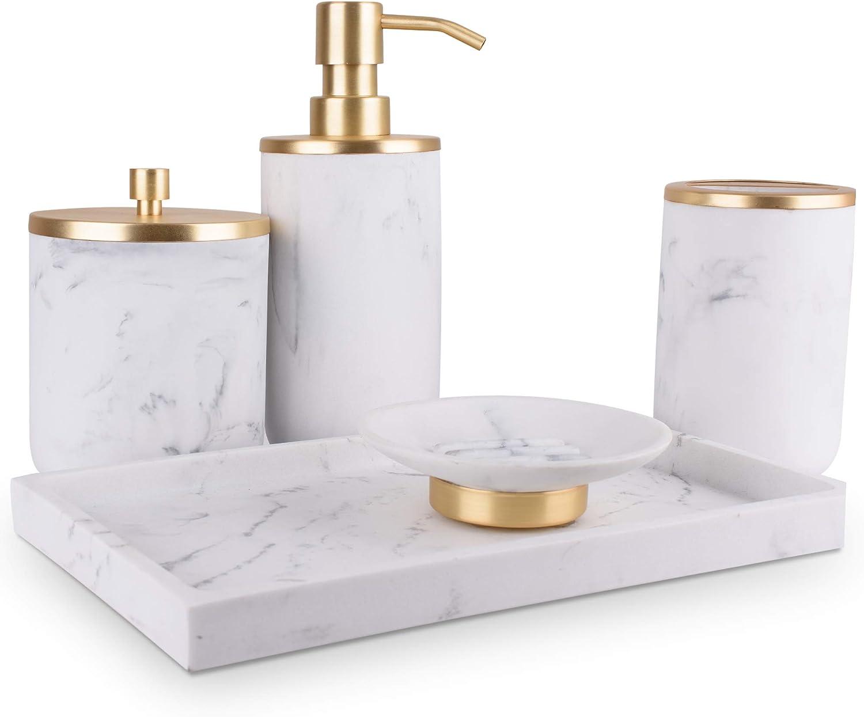 Bathroom Soap Dispenser Set - Bathroom Toothbrush Holder Set, Marble Bathroom Accessories, Gold Bathroom Accessories, Farmhouse Bathroom Decor, Gold Soap Dispenser, 5 Piece Bathroom Accessories Set