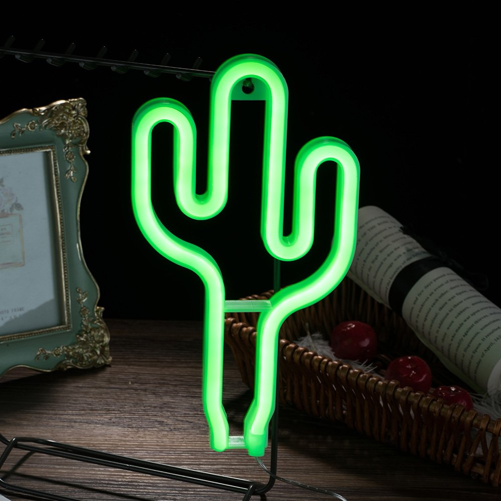 Qunlight Neon Night Light Cactus Shaped with Green Lamp USB & Battery Powered no Heat Hanging for Wedding Sign,Wall Decor,Birthday Party,Camping,Kids Room, Living Room,Bedroom,Bar(Green Cactus)