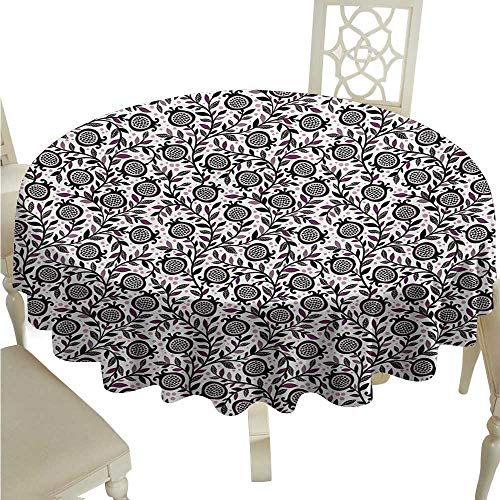 longbuyer White Round Tablecloth Garden Art,Floral Pattern Artistic Pomegranate Fruits and Leaves Coming of Spring,Plum Blush Black D70,for Accent Table