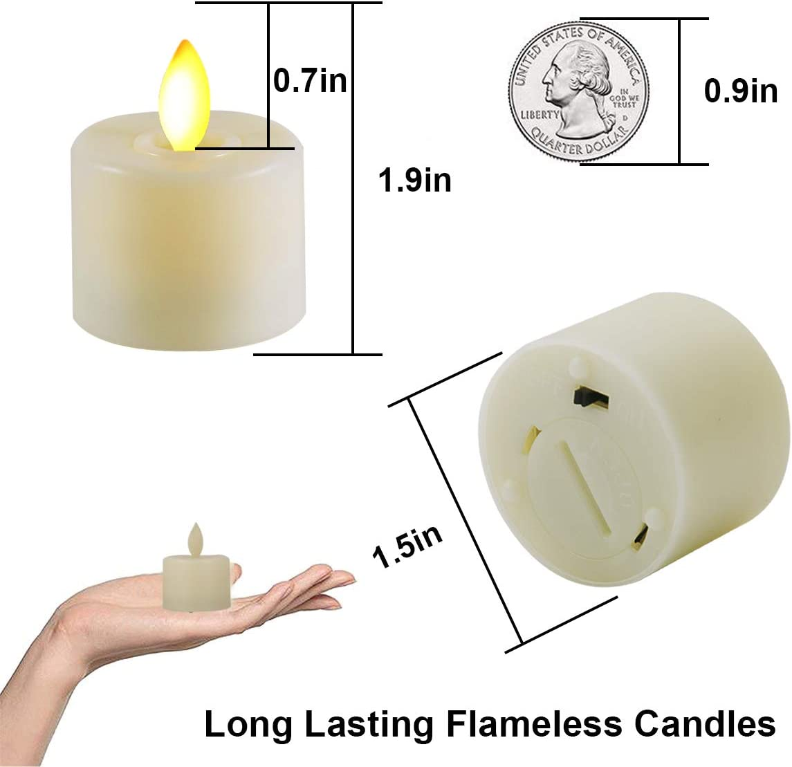 LED Candles Realistic Bright Flickering Moving Wick Electric Tea Lights Candles Battery Operated Flameless LED Tealights for Seasonal Festival Celebration LED Votive Candles Unscented 12 Packs