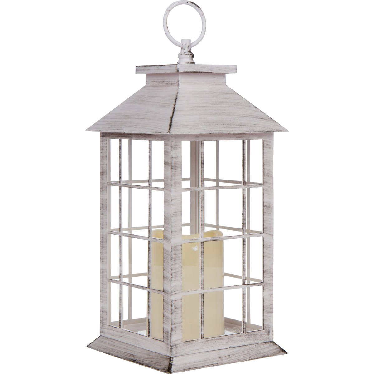 Country Style White Rustic Lantern with LED Candle Tall | ChristmasTablescapeDecor.com