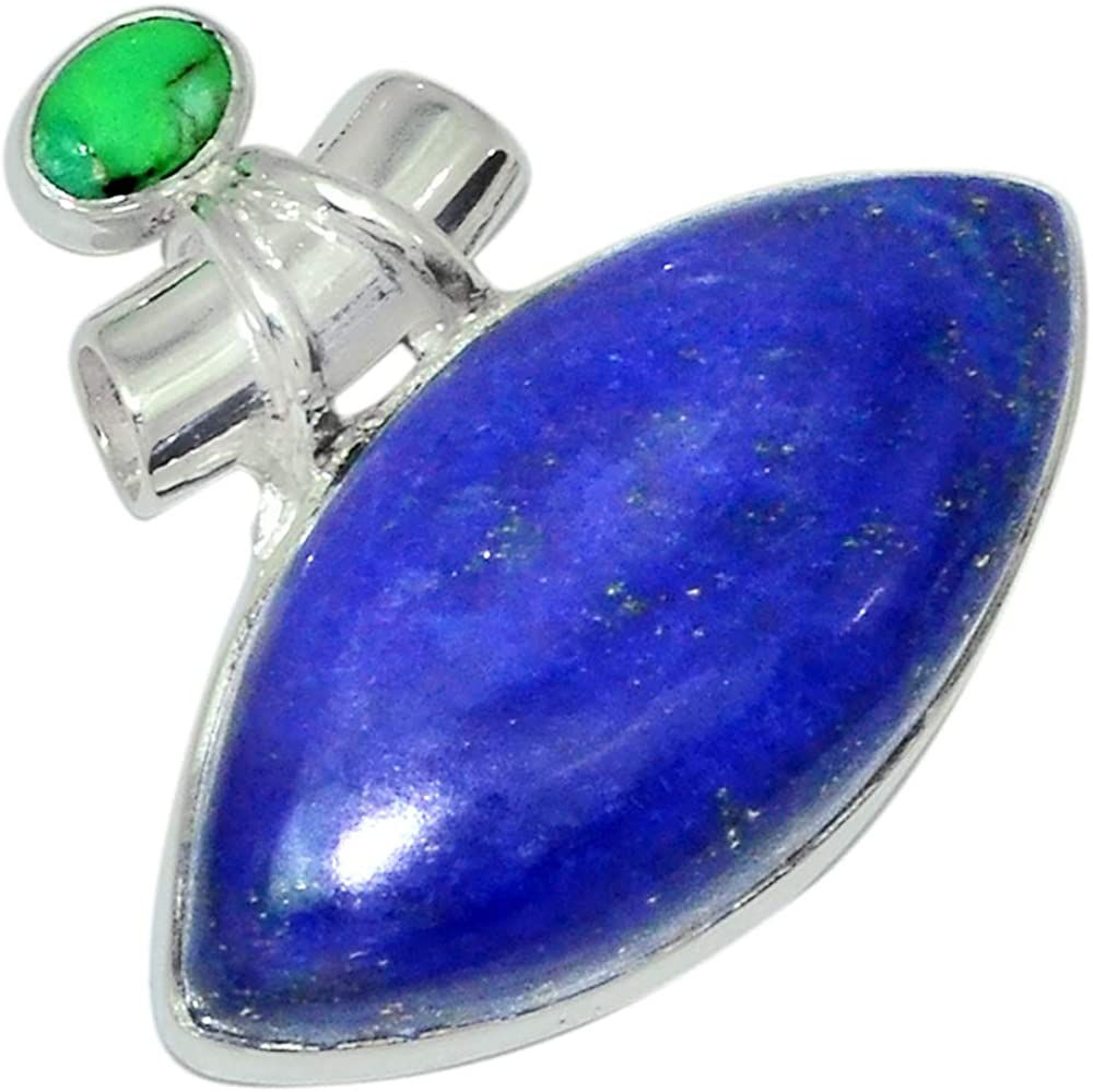 Xtremegems Lapis /& Green Mohave Turquoise 925 Sterling Silver Pendant Jewelry 1 1//8 28540P