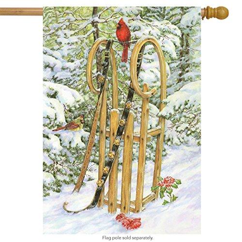 Briarwood Lane Wooden Sled Winter House Flag Sleigh Bells Snowy Scene 28