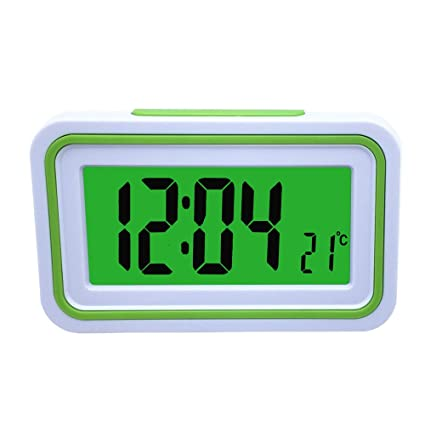 Spanish Talking LCD Digital Alarm Clock with Thermometer, Back lit, for Blind or Low Vision, 4 colors (White and Green)