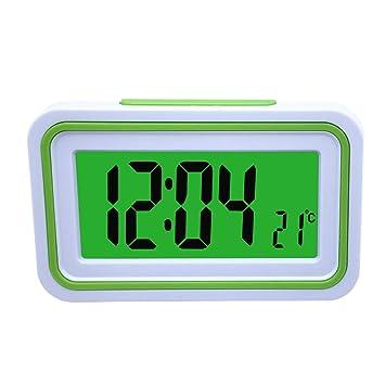 Reloj Despertador Parlante en Español, Alarma LCD con voz, Reloj Hablando (Blanco y Verde): Amazon.es: Hogar