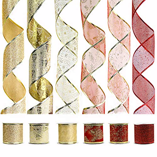 VATIN Wired Christmas Ribbon, Assorted Swirl Sheer Organza Glitter Crafts Gift Wrapping Festive Ribbons Christmas Design Decorations, 30 Yards (6 Roll x 5 yd) by 2-1/2, Set #2