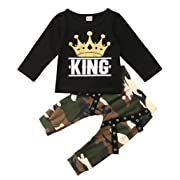 Toddler Baby Boy Clothes King Short Sleeve Black T-Shirt +Camo Pants Outfits Tops Set(3-6 Months)