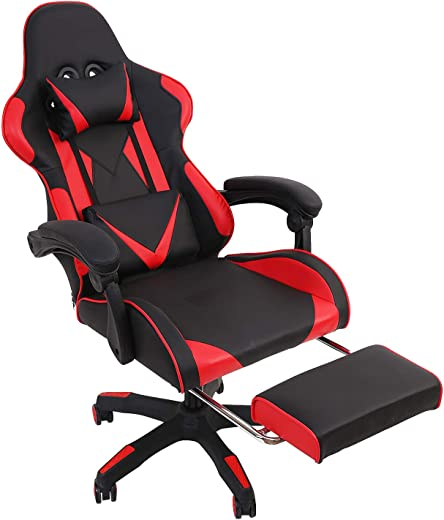 Flexispot Gaming Chair Ergonomic Office Chair PC Gaming Desk Chair, Leather-clad Chair, Adjustable Backrest with Head Pillow and Lumbar Pad, Rolling Swivel Chair with Footrest (Red)