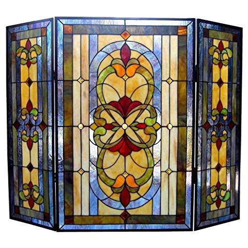 - Chloe Lighting Tiffany Style Victorian Design 3-Panel Fireplace Screen