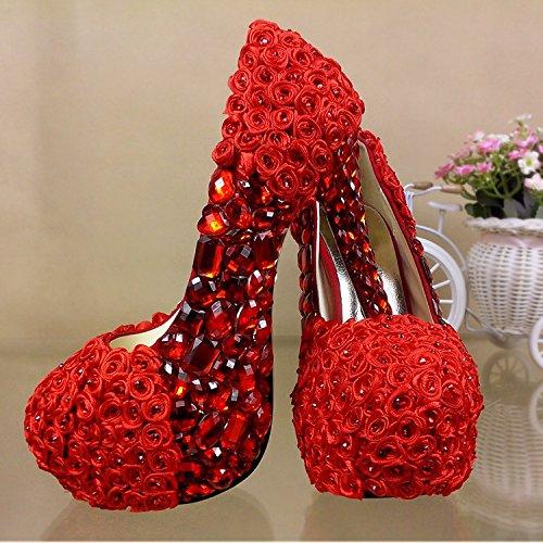 JINGXINSTORE Rhinestone rojo zapatos de boda flor rosa High-Heeled Crystal impermeable Zapatos de novia zapatos de rendimiento Bridesmaid Rojo