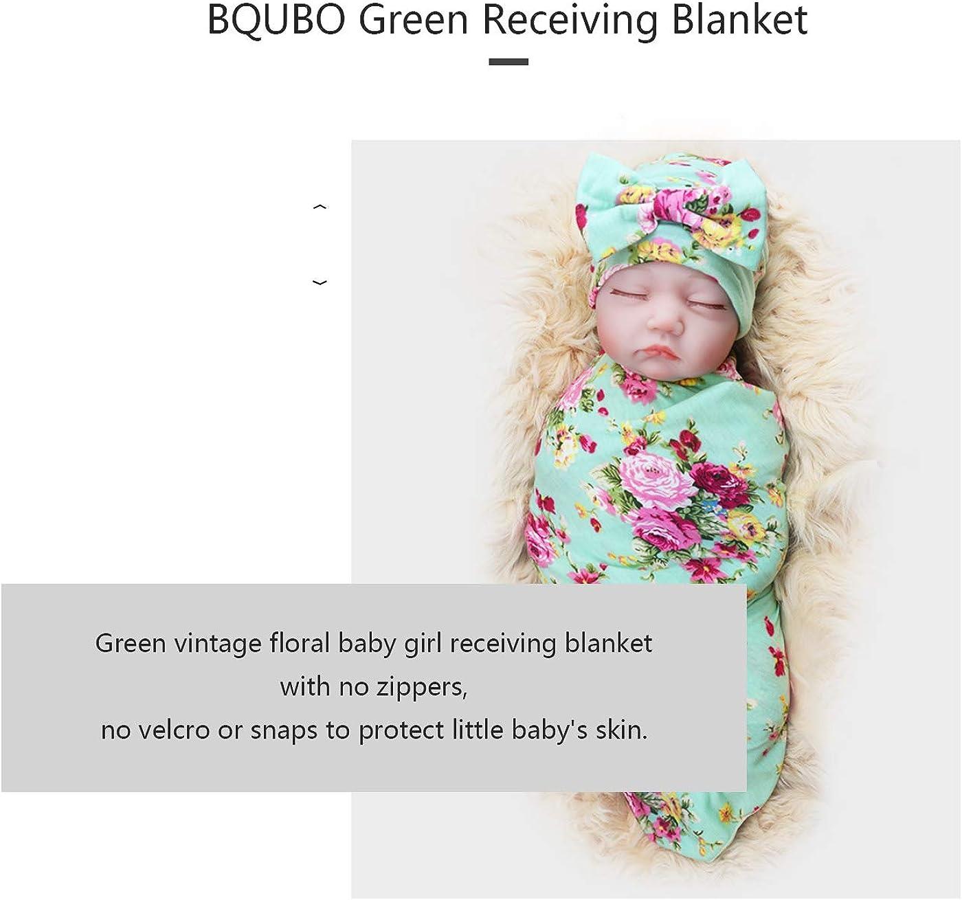 DRESHOW Newborn Receiving Blanket Headband Set Flower Print Baby Swaddle Receiving Blankets