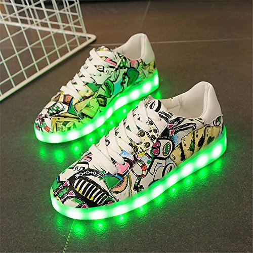 Unisex Sneakers Charging Couple Green Men Shoes Dance amp; Flashing Woman LED USB Shoes zzXvaw
