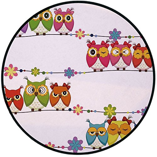 Printing Round Rug,Kids,Cute Angry Amusing Owls Eyes Sitting on a String of Flowers Branch Birds Decor Decorative Mat Non-Slip Soft Entrance Mat Door Floor Rug Area Rug For Chair Living Room, (Hydra Eye Floral)
