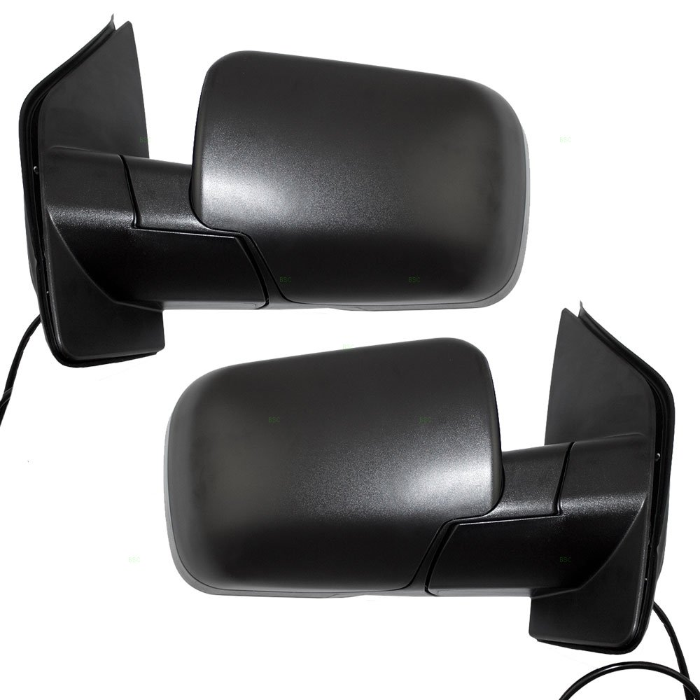 Driver and Passenger Power Side View Mirrors Single Arms Textured Replacement for Infiniti Nissan SUV Pickup Truck 96302-ZR10A 96301-ZR10A