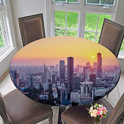 PINAFORE HOME Round Premium Table Cloth Sunset in Megapolis with top View on Skyscrapers Bangkok Thailand Perfect for Indoor, Outdoor 63