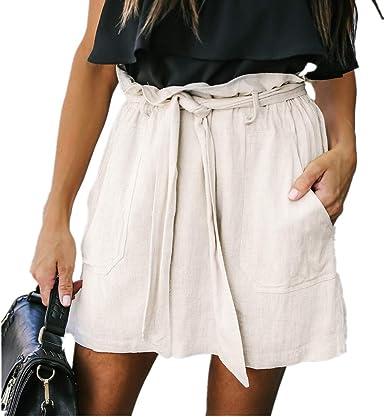 Hibote Falda Mujer Mini Suave Cómodo Falda de Lino Algodón Faldas Cintura Alta Mini Falda de la Playa S-XL: Amazon.es: Ropa y accesorios