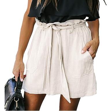 Hibote Falda Mujer Mini Suave Cómodo Falda de Lino Algodón Faldas ...