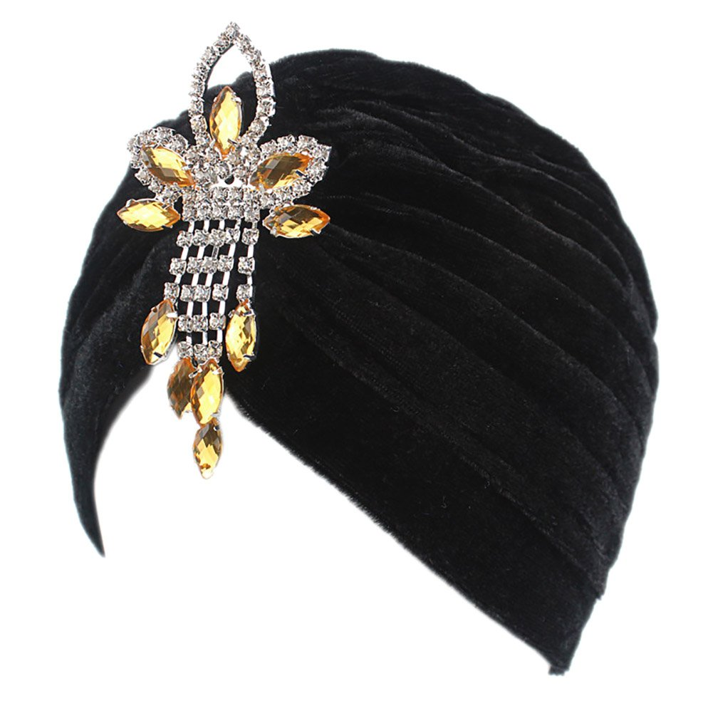 1920s Style Hats BAOBAO Women Ruffle Velvet Indian Cap Crystal Stretch Turban Hat Chemo Headwrap Headscarf $10.99 AT vintagedancer.com