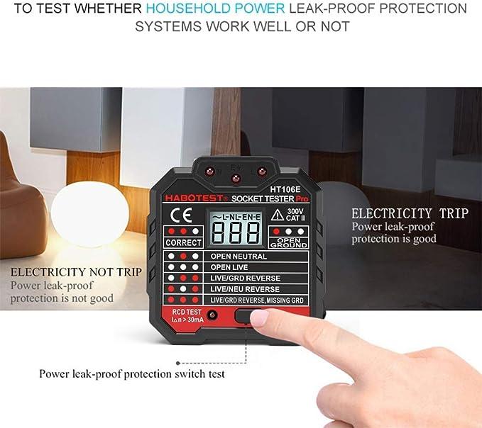 Quille Stopcontacttester Met Lcd Display Neutrale Aardingsdraad Rcd Test Uk Stekker Auto