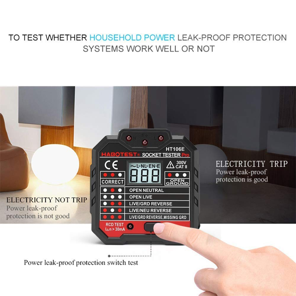 QUILLE Socket Tester Mains Outlet Tester with LCD Display Neutral Live Earth Wire Testing RCD Test UK Plug