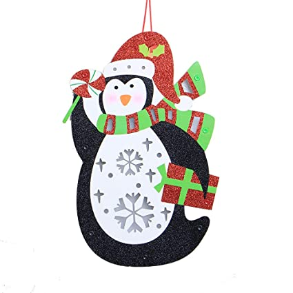 rtyou christmas decorations clearance creative penguin wooden christmas house led light hanging pendant xmas ornament - Christmas Decorations Sale Amazon
