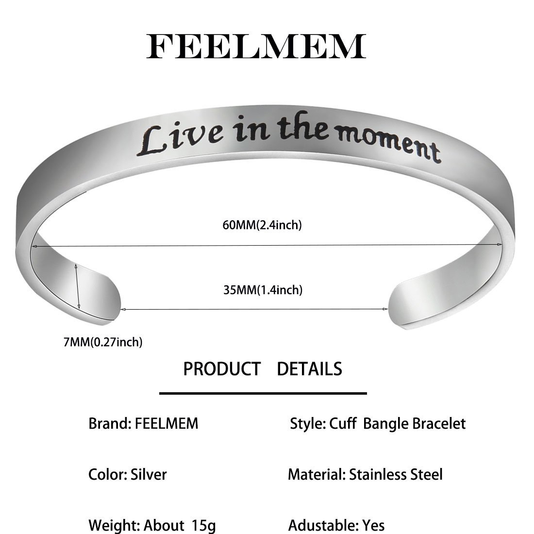 Friend Mom /& Daughter FEELMEM Inspirational Bracelet Live in The Moment Cuff Bangle Inspirational Jewelry Gifts for Her