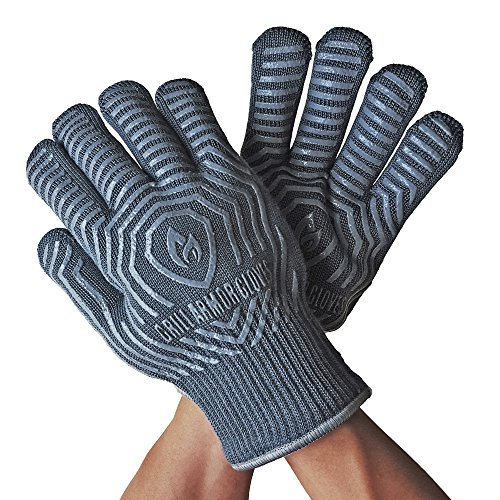 -[ Grill Armor 500°C Extreme Heat Resistant Oven Gloves - EN407 Certified BBQ Gloves For Cookin