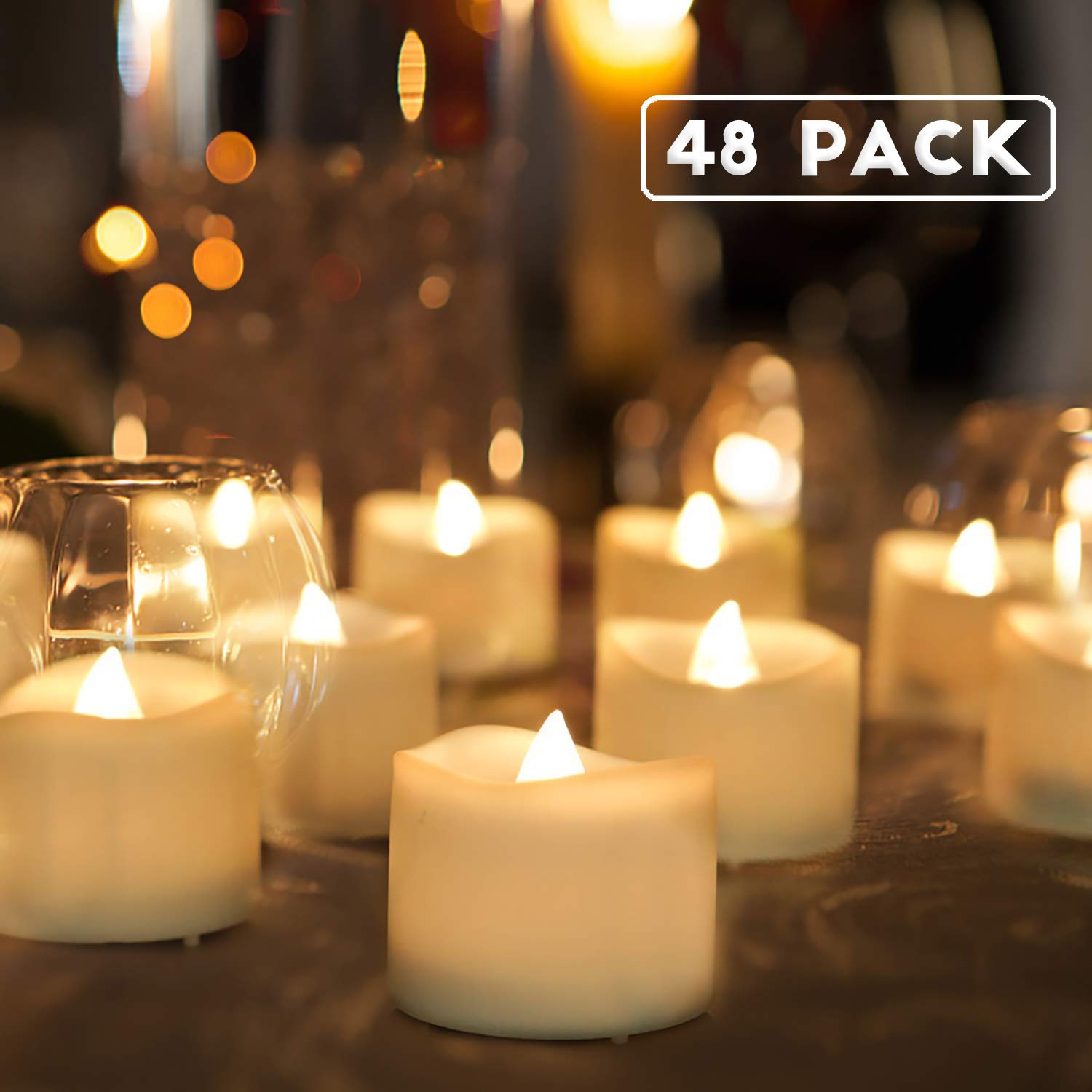 Homemory Battery Tea Lights Bulk, 48-Pack LED Tea Lights, Flickering Tea Lights, Long Lasting Battery Life, Warm White, 1.25'' H X 1.4'' D