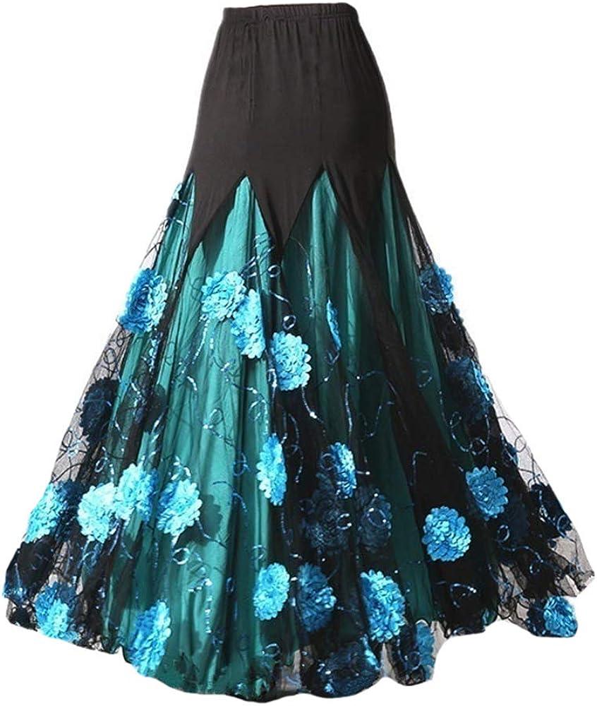 여성 볼룸 스커트 현대 국가 표준 댄스 꽃 드레스 왈츠 탱고 의상 파티 롱 스윙 스커트