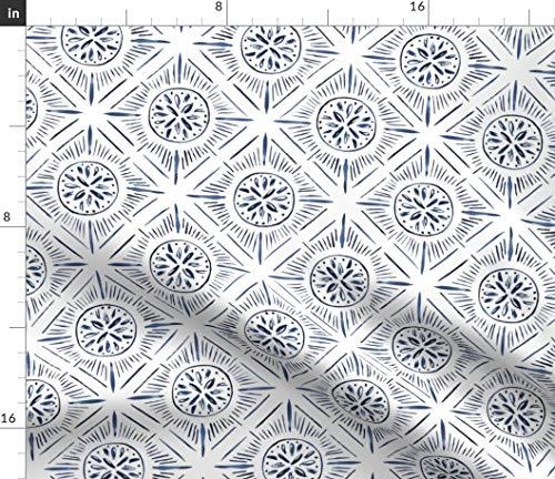 Diamond Sunburst Fabric - Diamond Sunburst Tiles Blue Diamond Sunburst Tile Watercolor Geometric Blue Print on Fabric by The Yard - Sport Lycra for Swimwear Performance Leggings Apparel Fashion