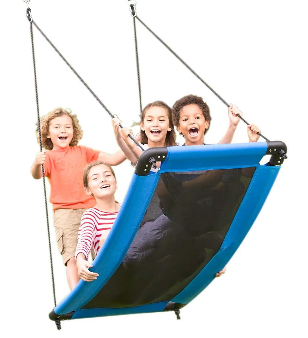 HearthSong SkyCurve Hanging Platform Rope Tree Swing for Multiple Children