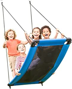 """HearthSong SkyCurve Weather-Resistant Platform Tree Swing with Comfy Mat and Padded Steel Frame, 60""""L x 32""""W, Holds up to 400 lbs."""