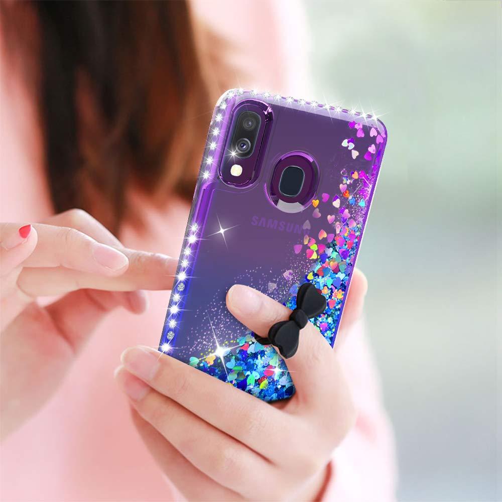 LeYi Funda Samsung Galaxy A40 Silicona Purpurina Carcasa con 2-Unidades Cristal Vidrio Templado Transparente Cristal Bumper Gel TPU Fundas Case Cover para Movil Samsung A40 Verde//Morado