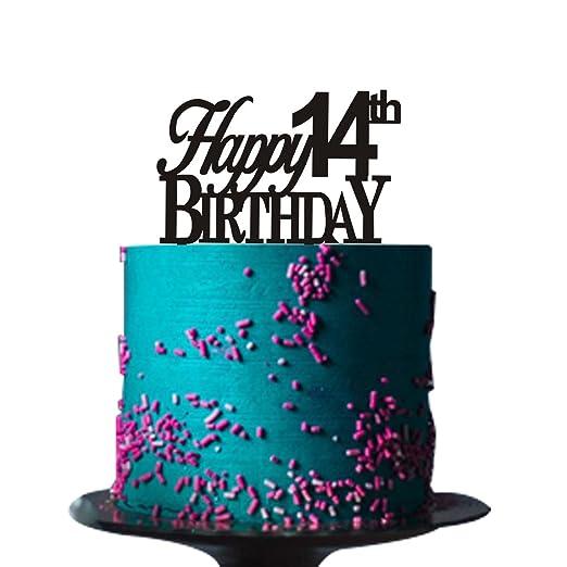 Decoración para tarta de cumpleaños número 14 para ...