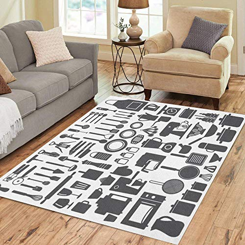 7' Electric Skillet - Semtomn Area Rug 5' X 7' Apron Related Utensils and Appliances Silhouette Cooking Scoop Juicer Home Decor Collection Floor Rugs Carpet for Living Room Bedroom Dining Room