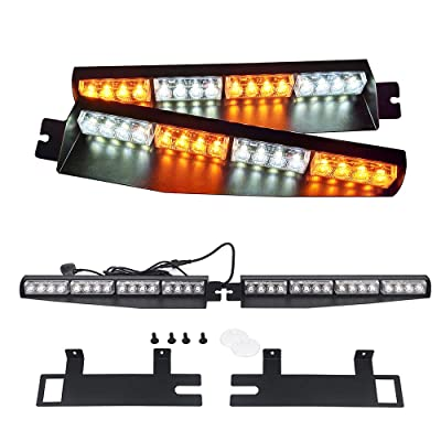 "AutronLEDLight Strobe Light Bar 34"" 32 LED Emergency Warning/Windshield Visor Split Deck Red Blue White Lamp/Dash 26 Flashing Patterns 12V: Industrial & Scientific"