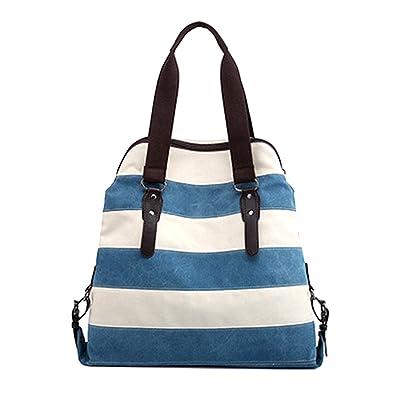 bf7b2d43fb26d Defeng Canvas Schultertasche Umhängetasche Modische Handtasche Messenger  Damenhandtasche Herrentasche (Blau)