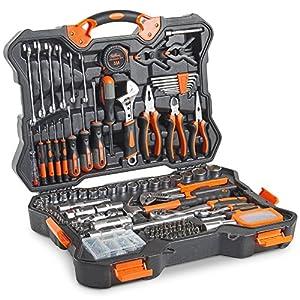 VonHaus Premium Hand Tool Kit + Socket Set 256pc – Combo Tool Kit with Satin-Finished Tools & Heavy Duty Storage Case…