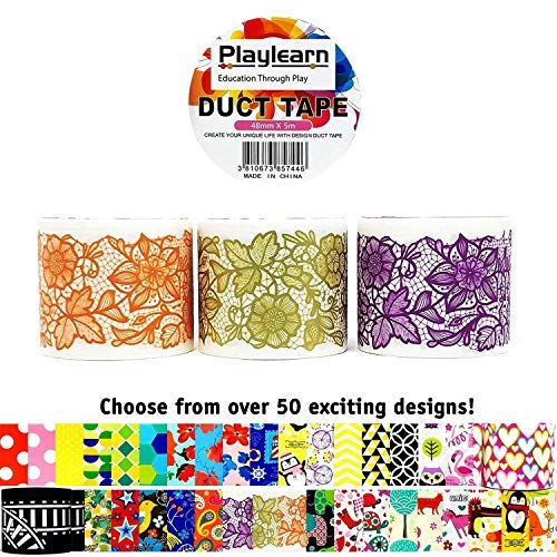 (Design Duct Tape 48mm x 16 Feet - Kids Fun Extra Strong Printed Arts & Crafts Multi Pack - by Playlearn (Lace Ribbon))