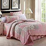 Ammybeddings Bed Quilt Set Full Cotton Bedspread Reversible Super Soft Quilt Set Lightweight Hypoallergenic Microfiber Thin Comforter ( Queen, Pink)