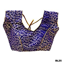 Blue Party Wear Velvet Ready-Made Indian Saree Blouse Indian Designer