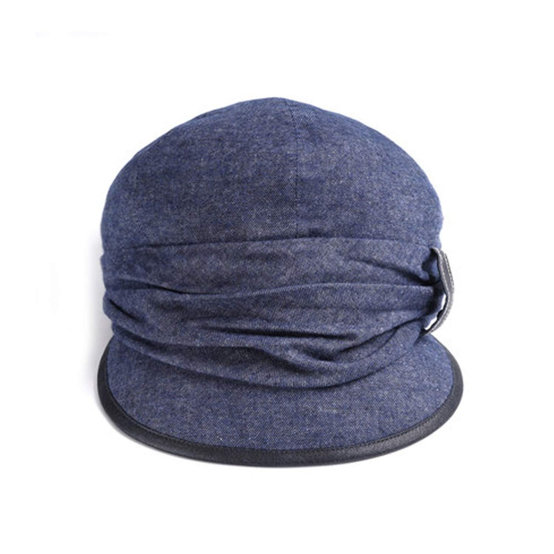 UKURO Women Cotton Visor Beret Baggy Fashion Newsboy Caps Solid Color,Denim Blue,56 to 58cm by UKURO (Image #1)