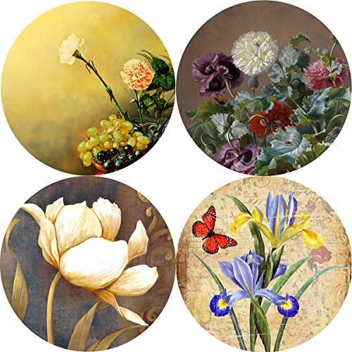 Pack of 4 Absorbent Stone Coasters for Drinks,Oil Paiting Flower Pattern Ceramic Cup Holder Coaster(Flower Pattern) (Flowers Coasters)