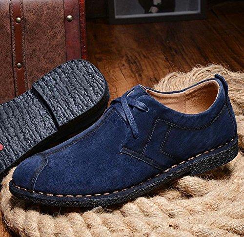 Pump Slip On Hombres Loafer Retro Suede Shoelace Zapatos de cuero Casual zapatos de la placa británica Zapatos de conducción Logging zapatos Eu Tamaño 38-44 Blue