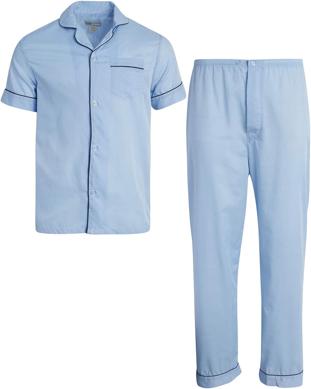 Ten West Apparel Men's 2-Piece Pajama Set with Short Sleeve Shirt and Long Pants