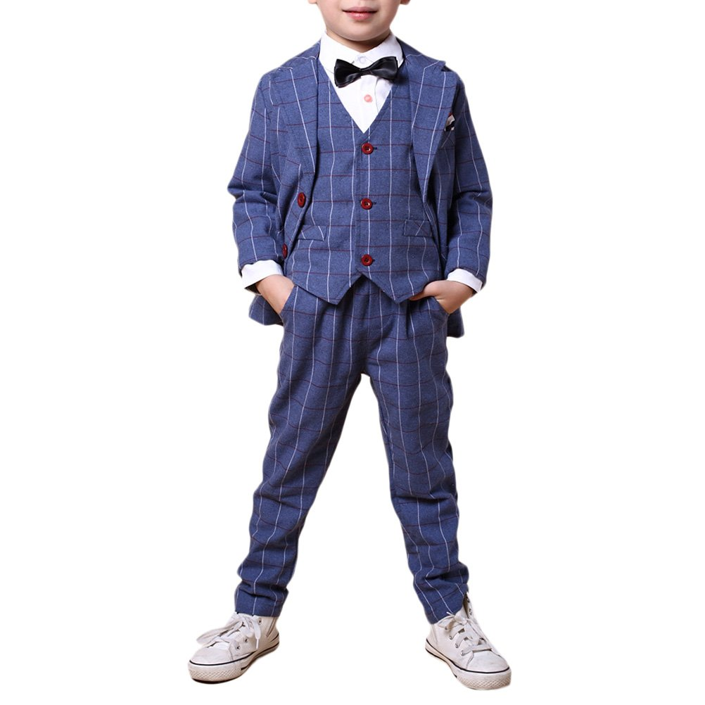 Zhhlaixing Boys 3 Piece Suit Jacket Waistcoat Trousers Wedding Suit Page Boy Party Prom Formal