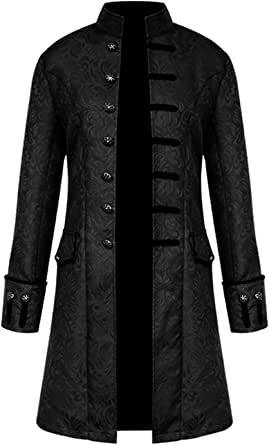 AIEOE Steampunk Gothic Men Windproof Tailcoat Long Sleeve Button Down Jackets
