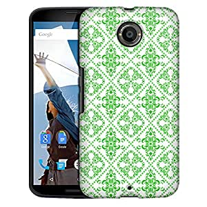 Motorola Nexus 6 Case, Slim Fit Snap On Cover by Trek Victorian Gothic Green on White Case